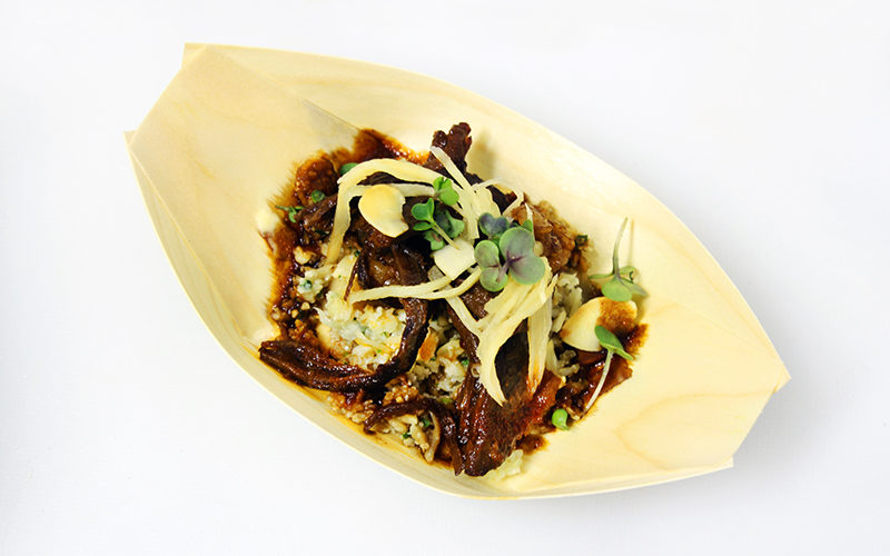 velocity -4 - Asian braised beef short rib with charred cauliflower couscous, cucumber, sweet & spicy ginger strips 2