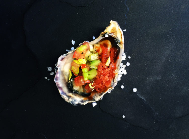 Oyster with Bloody Mary granite, celery salsa and a dash of Tabasco